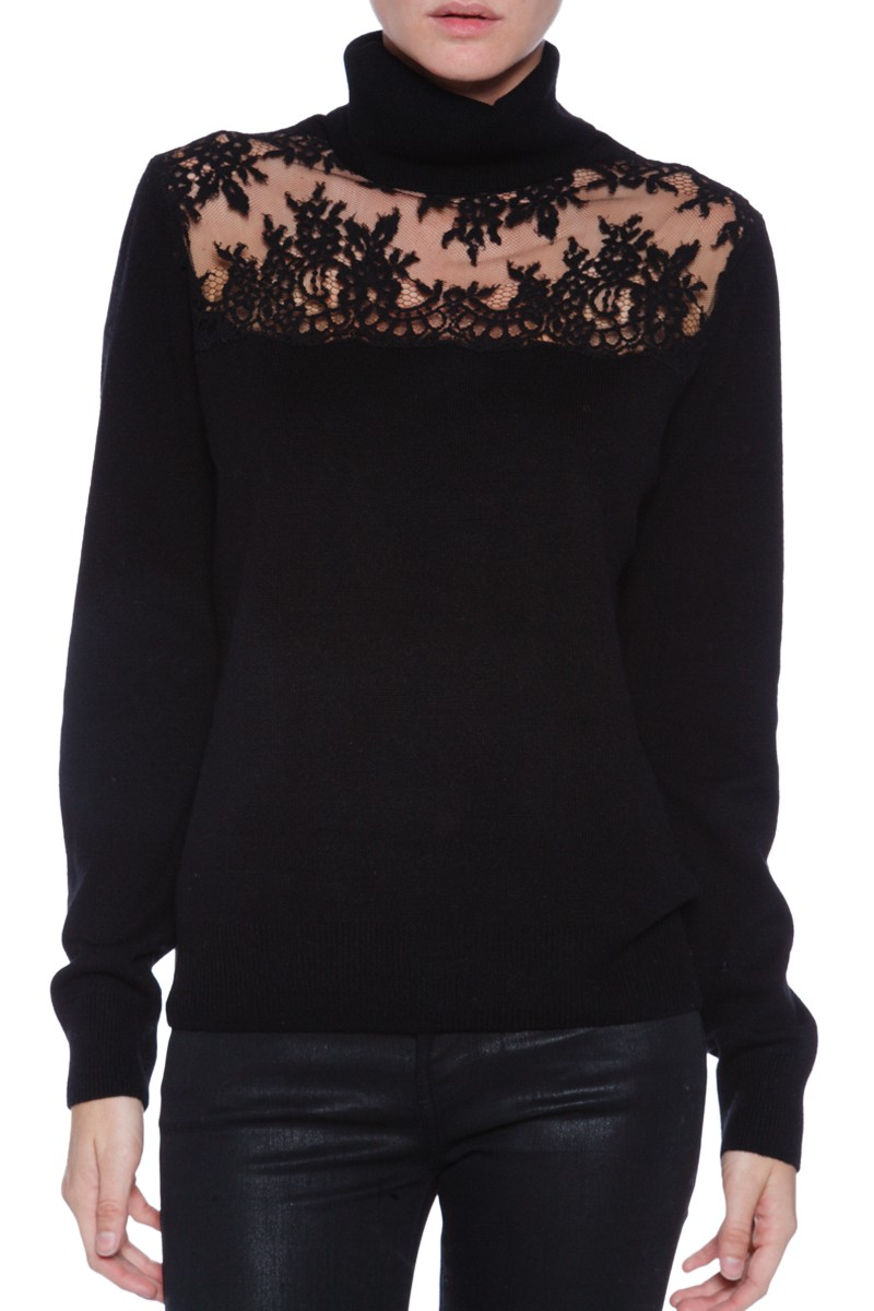 Turtle Neck Sweater with Lace