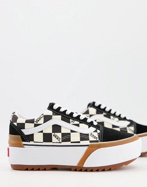 UA Old Skool checkerboard sneakers in black/white, 1 of 4