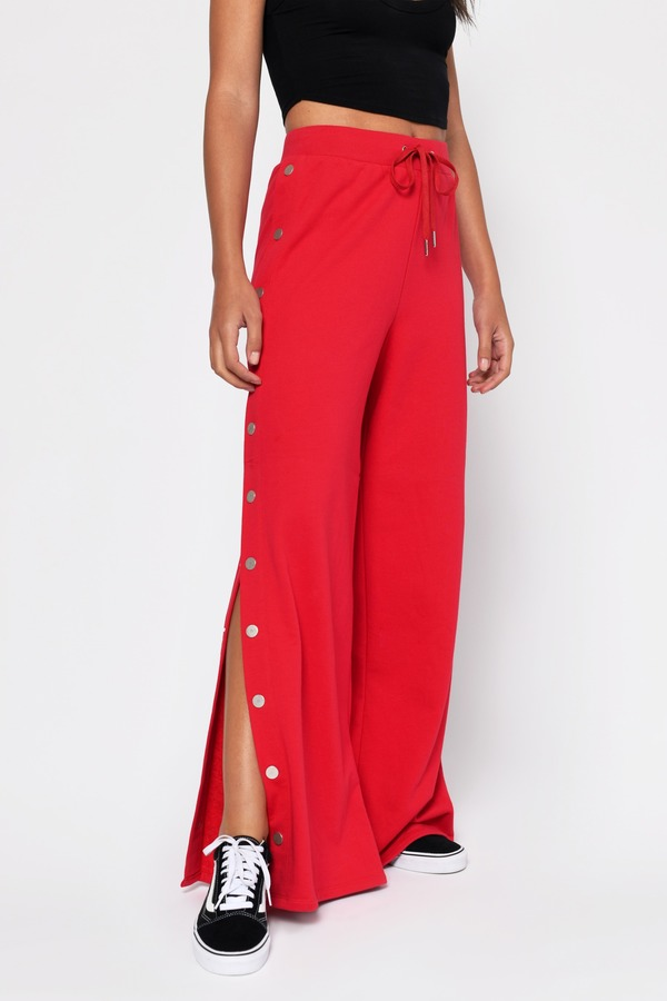 Snap Out Of It Drawstring Sweatpants in Red