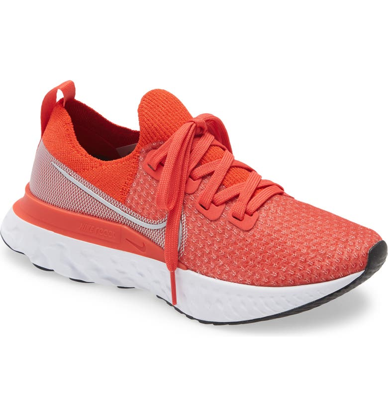 React Infinity Run Flyknit Running Shoe, Main, color, CHILE RED/ SILVER/ RED