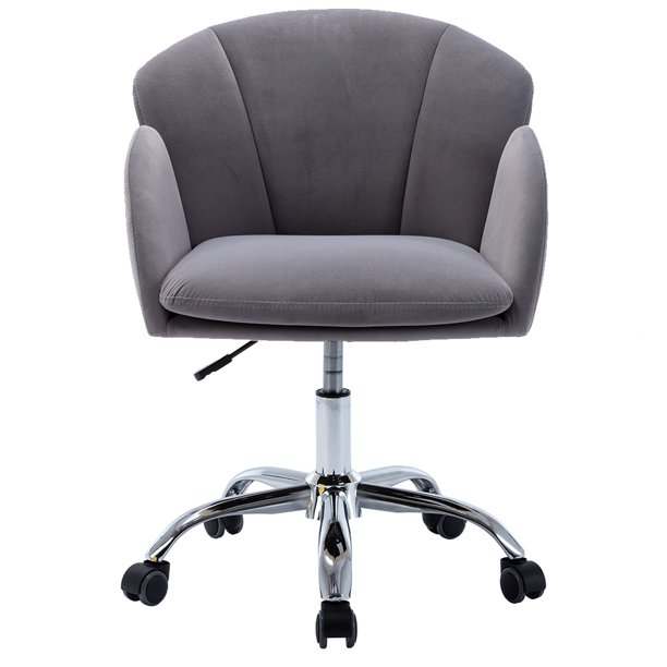 Gray Velvet Office Chair on Wheels, Modern Home Ergonomic Chair Desk Task Chair for Girls, Adjustable Height Swivel Accent Chair Computer Desk Chair, Rolling Vanity Chair with Mid Back, Q16695