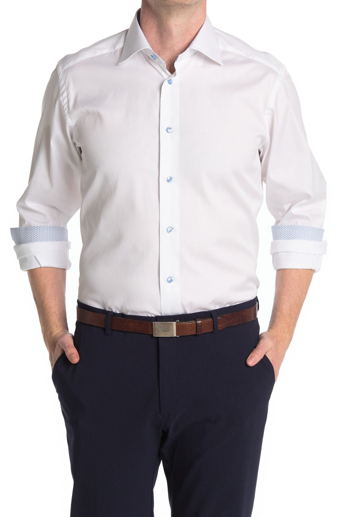 White Solid Printed Cuff Regular Fit Shirt