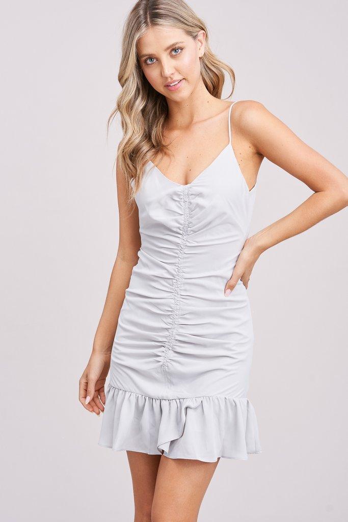 Gray Ruched Mini Dress