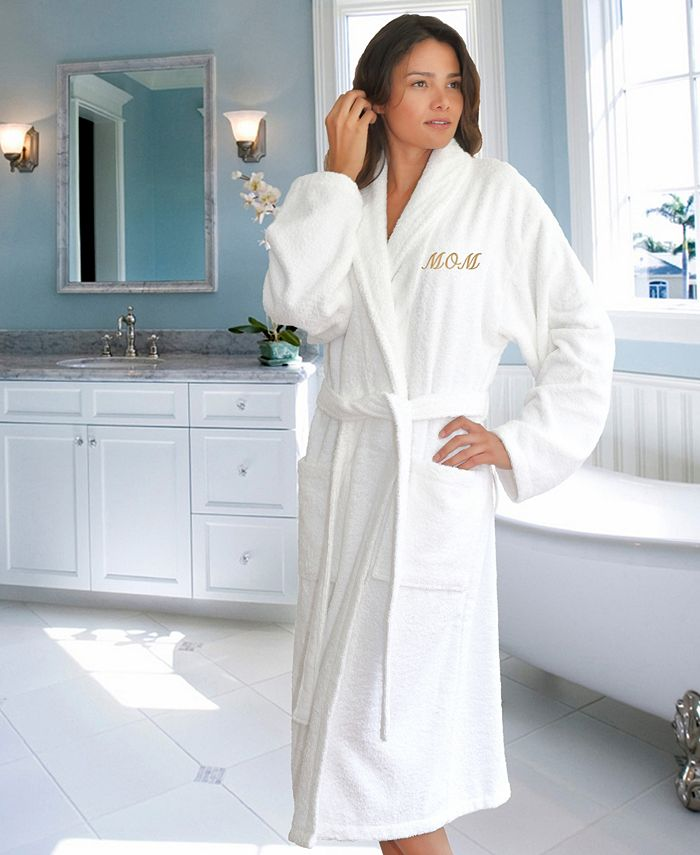 """Terry Bathrobe Embroidered with """"Mom"""""""