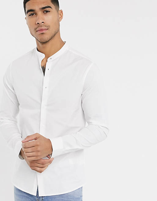 stretch skinny fit shirt in white with grandad collar, 1 of 4