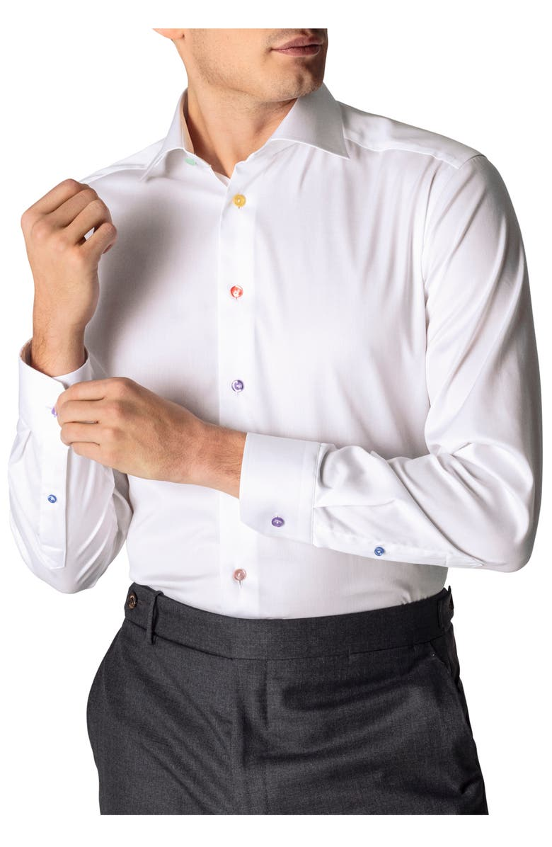 ETON Contemporary Fit Multicolor Button Solid Dress Shirt, Main, color, WHITE