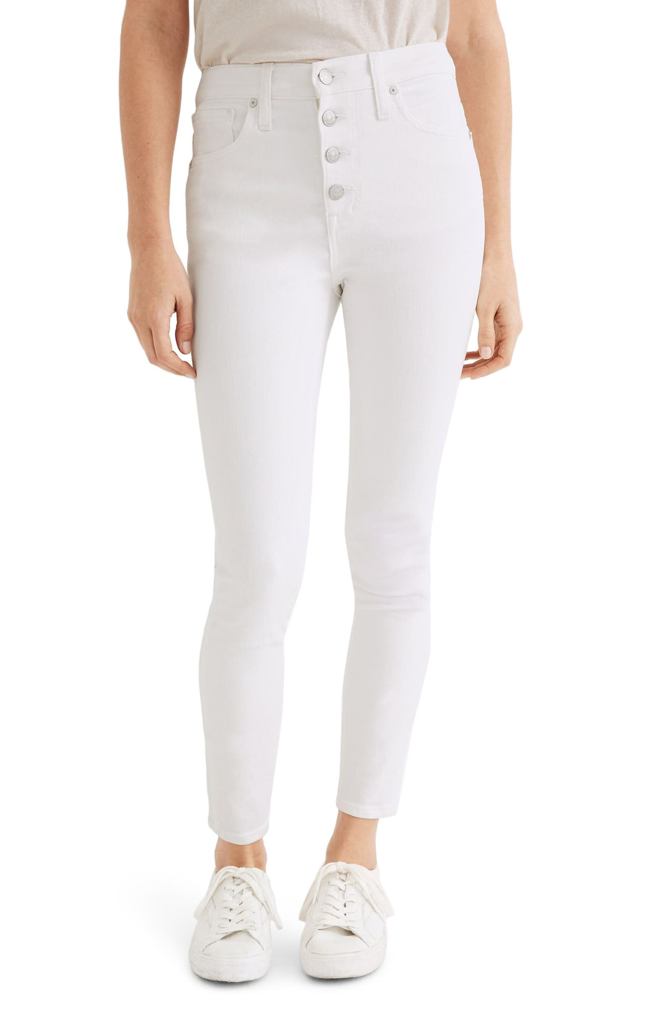 10-Inch High Waist Crop Skinny Jeans, Main, color, PURE WHITE