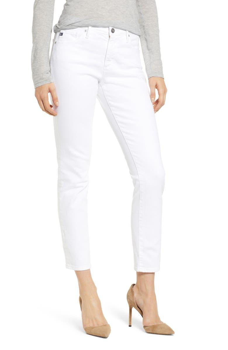 AG Prima Mid Rise Ankle Cigarette Jeans, Main, color, WHITE