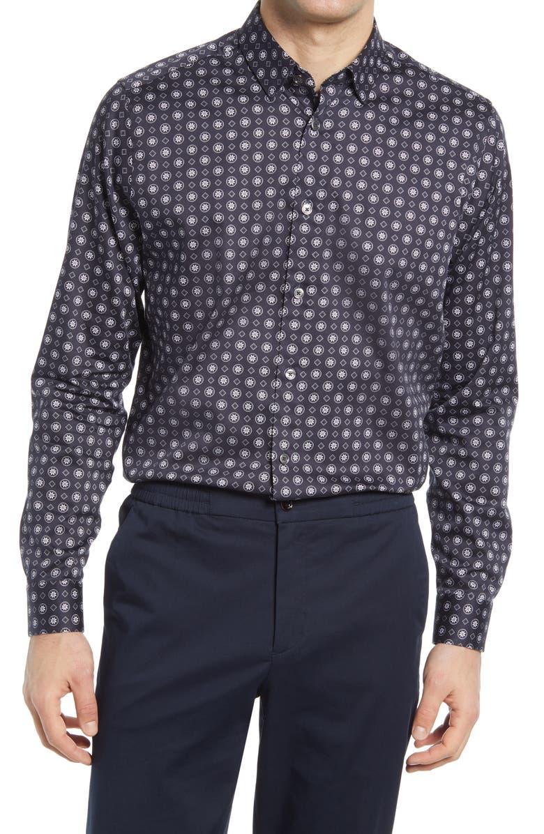 Trim Fit Geo Print Dress Shirt, Main, color, NAVY