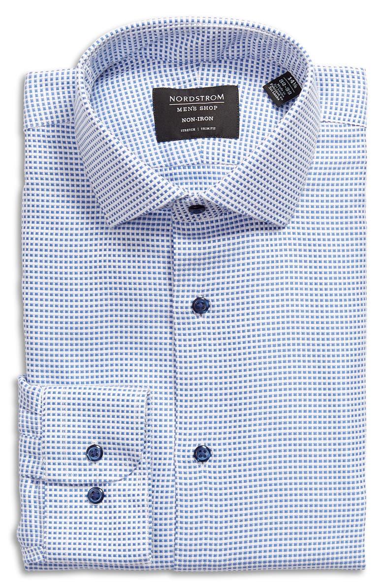 Trim Fit Stretch Non-Iron Dress Shirt, Main, color, BLUE AZURITE