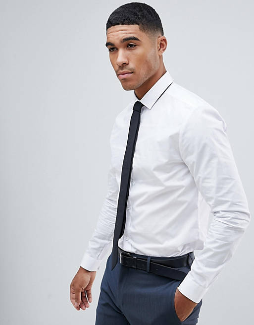 slim fit smart shirt in white, 1 of 4