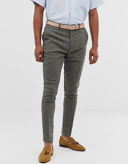 super skinny smart pants in gray dog tooth, 1 of 4