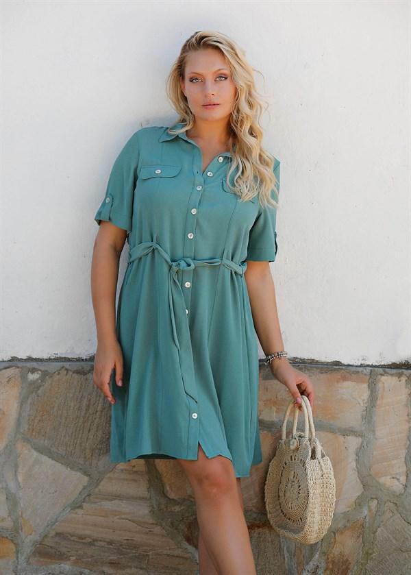 Women's Button Mint Green L...