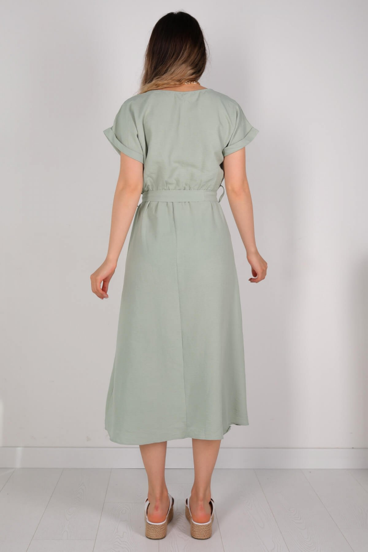 Women's Belted Mint Green A...