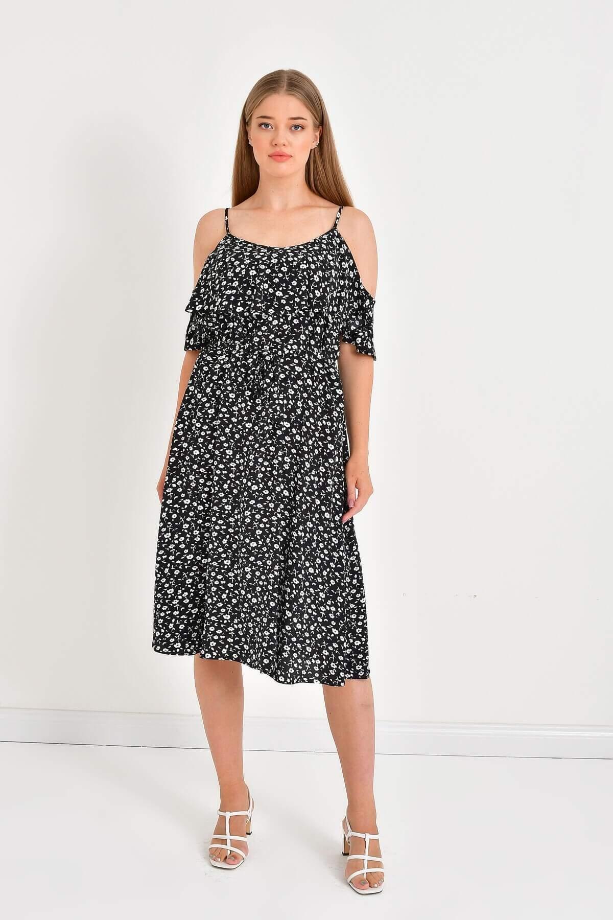 Women's Belted Ruffle Dress