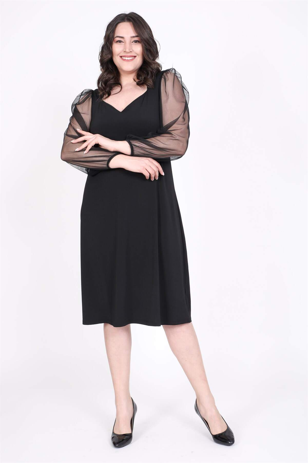 Women's Square Neck Tulle Princess Sleeves Dress