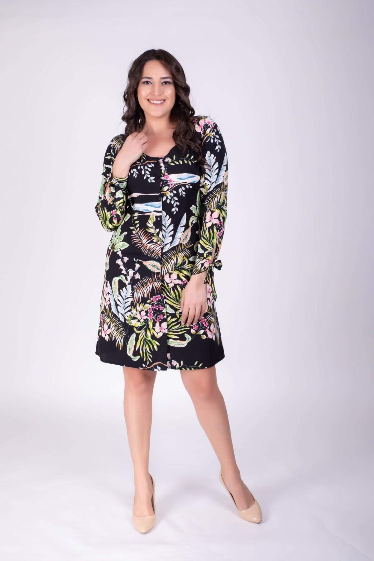 Women's Button Patterned Dress