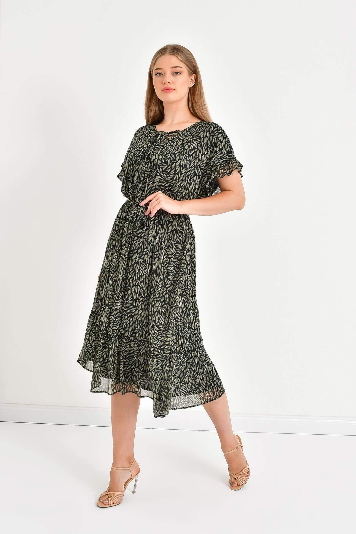 Women's Tie Detail Frill Chiffon Dress