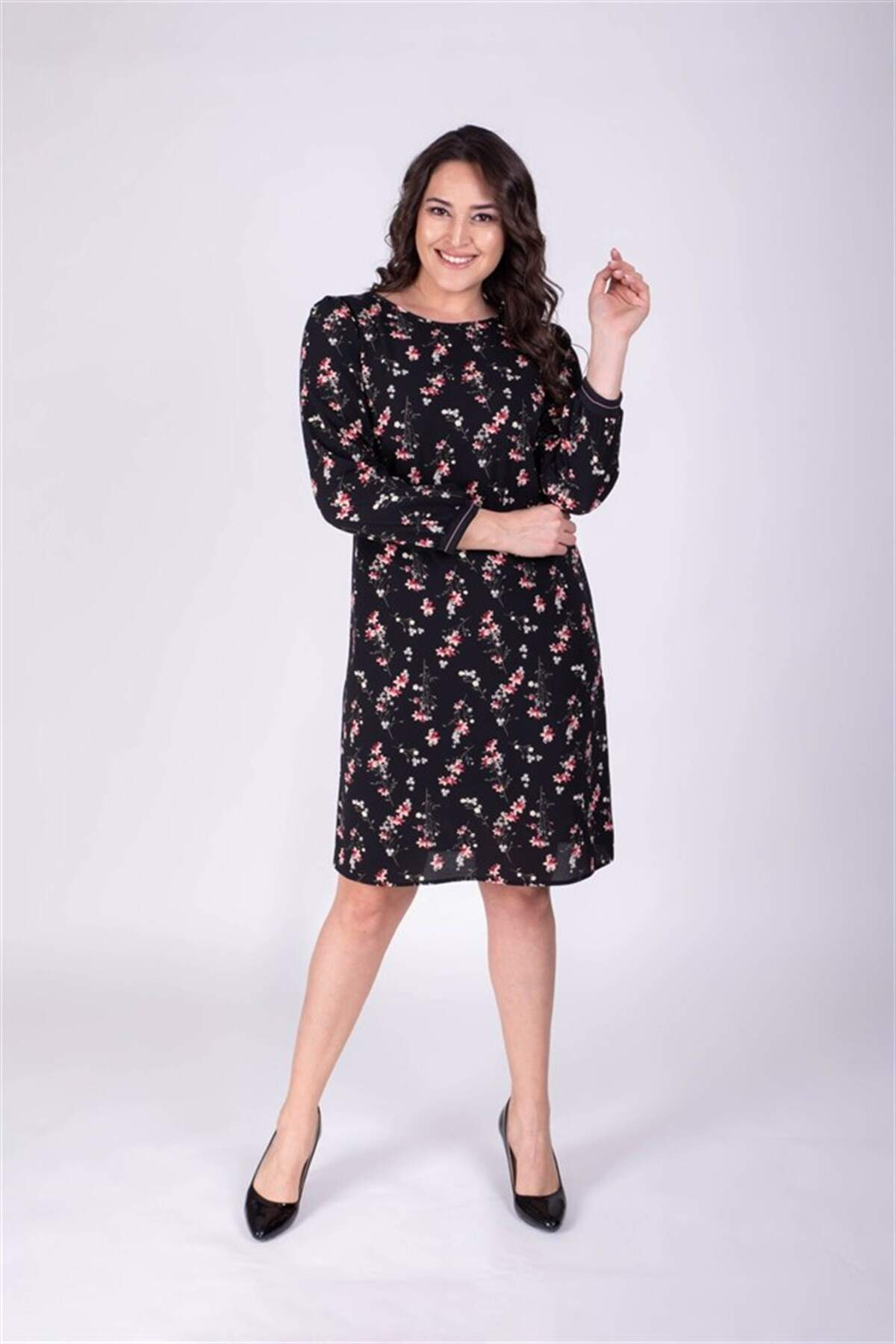 Women's Collar Detail Floral Pattern Dress