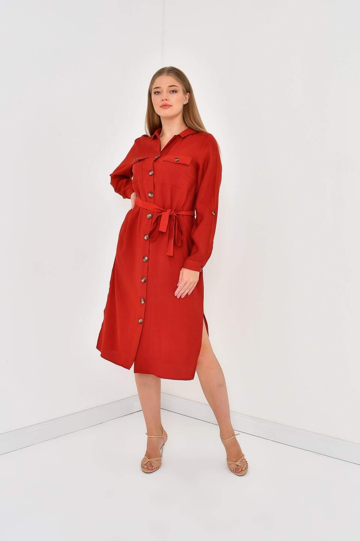 Women's Belted Pocket Jacquard Dress