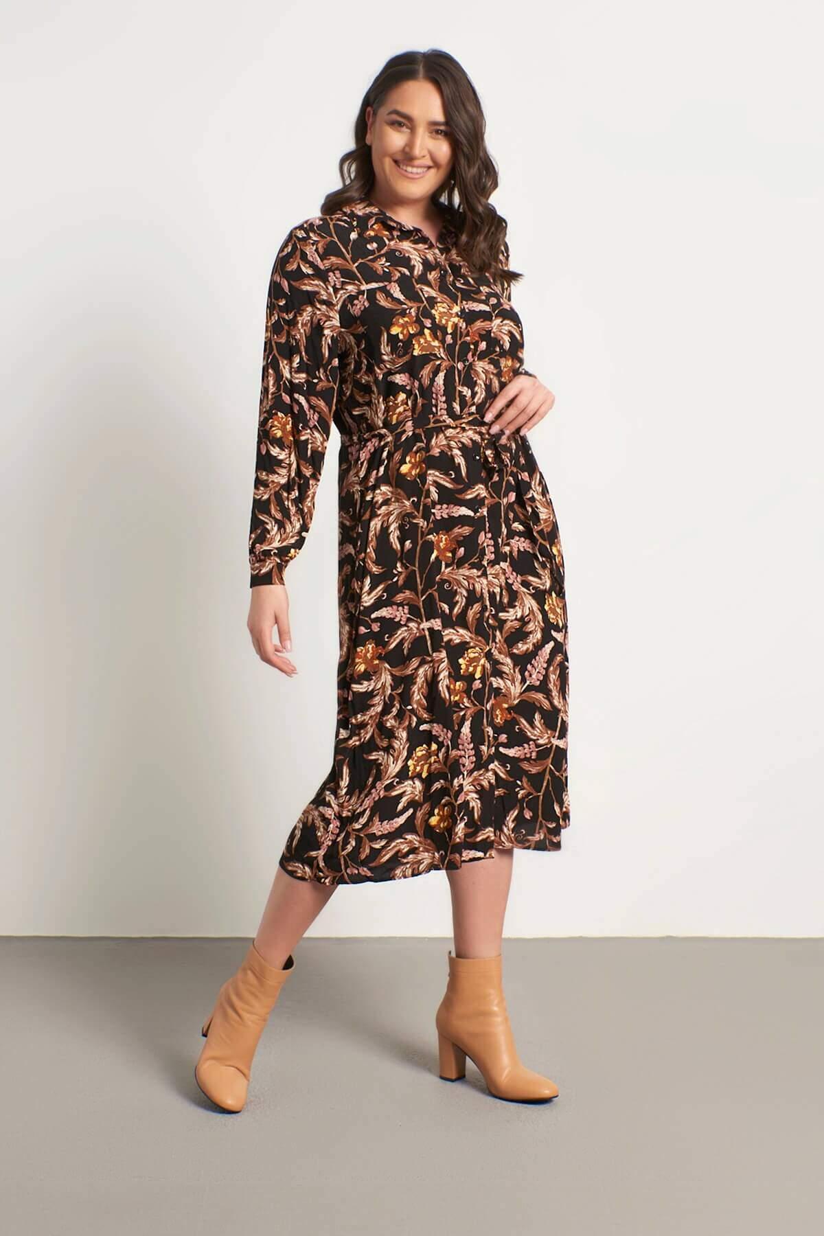 Women's Belted Pocket Shirt Dress