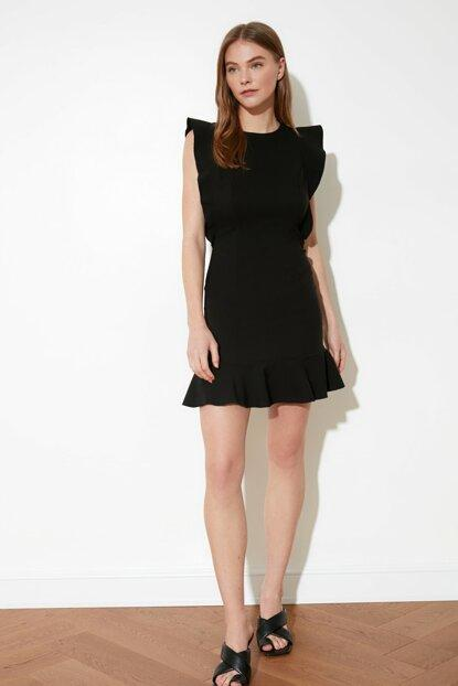 Women's Frill Black Dress