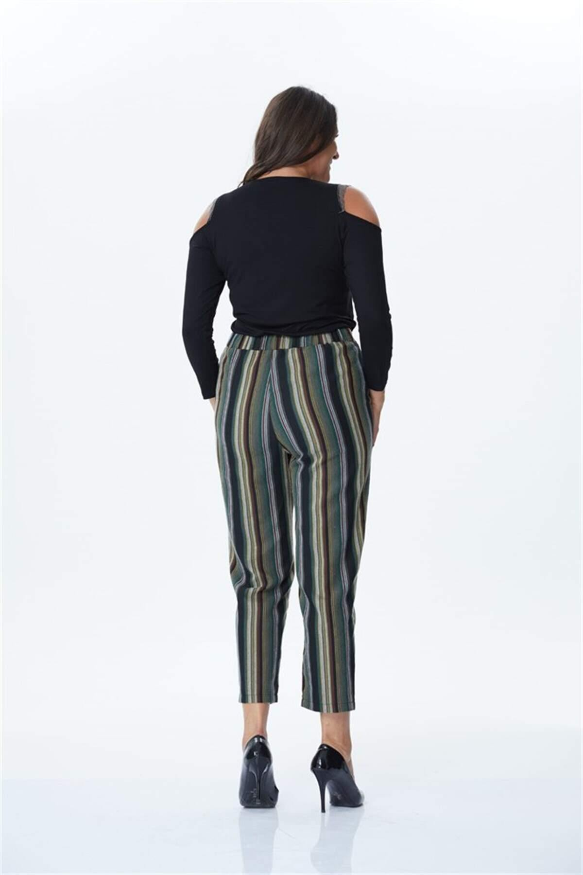 Women's Belted Striped Pants