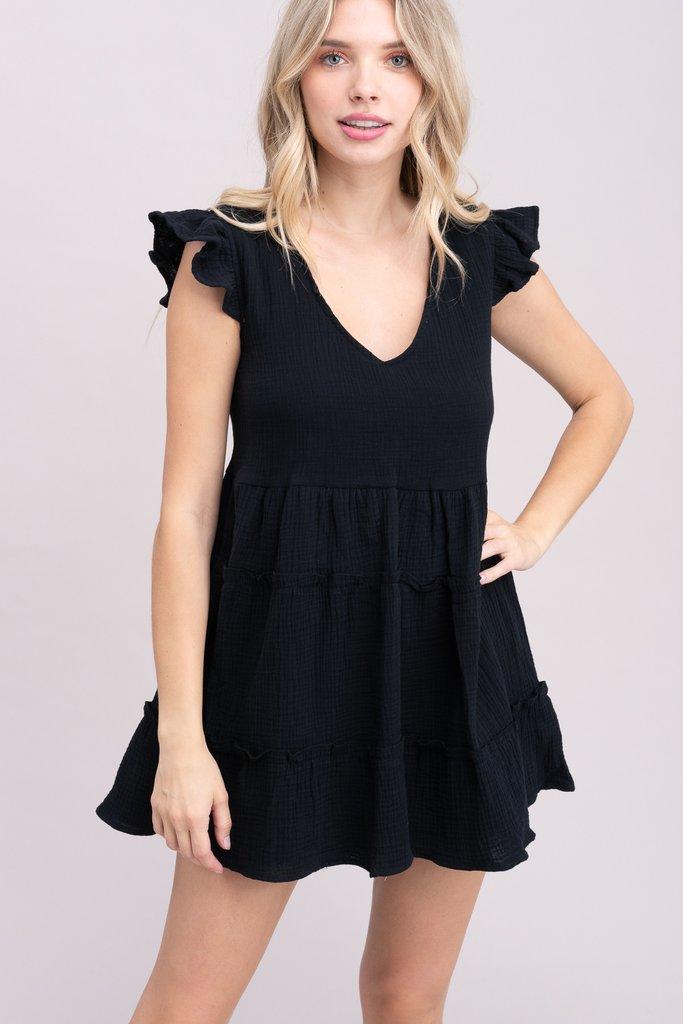 Black Ruffled Cotton Dress