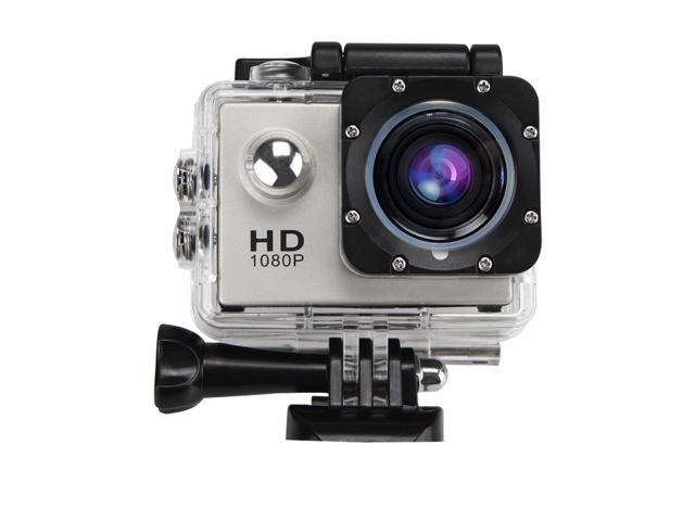 Waterproof HD Action Camera 12MP 1080P Full 170° Wide Angle gopro Sport Camera 4 x Digital Zoom with 2 Batteries-Silver