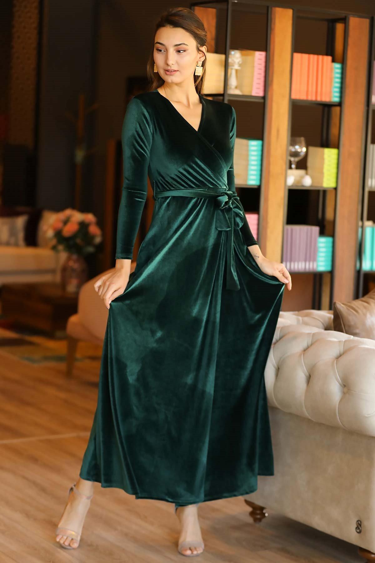 Women's Wrap Green Velvet Long Dress
