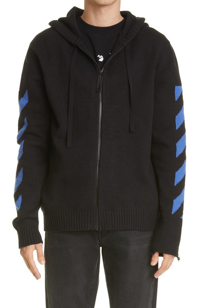 OFF-WHITE Stripe Knit Zip Hoodie, Main, color, BLACK/ BLUE