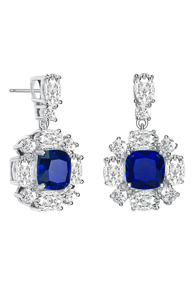 GENEVIVE Cubic Zirconia Drop Earrings, Main, color, WHITE/ BLUE