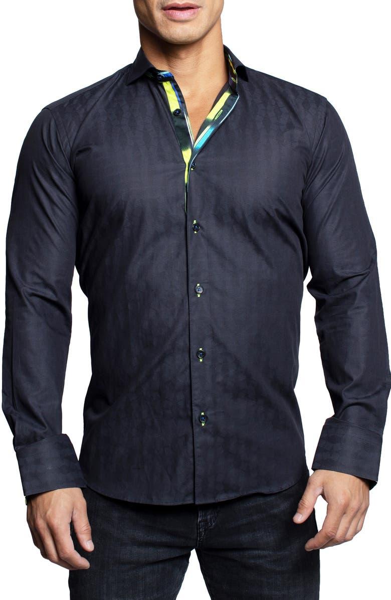 MACEOO Einstein Brickblocks Black Contemporary Fit Button-Up Shirt, Main, color, BLACK