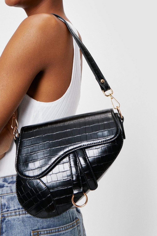 Faux Leather Croc Saddle Shoulder Bag
