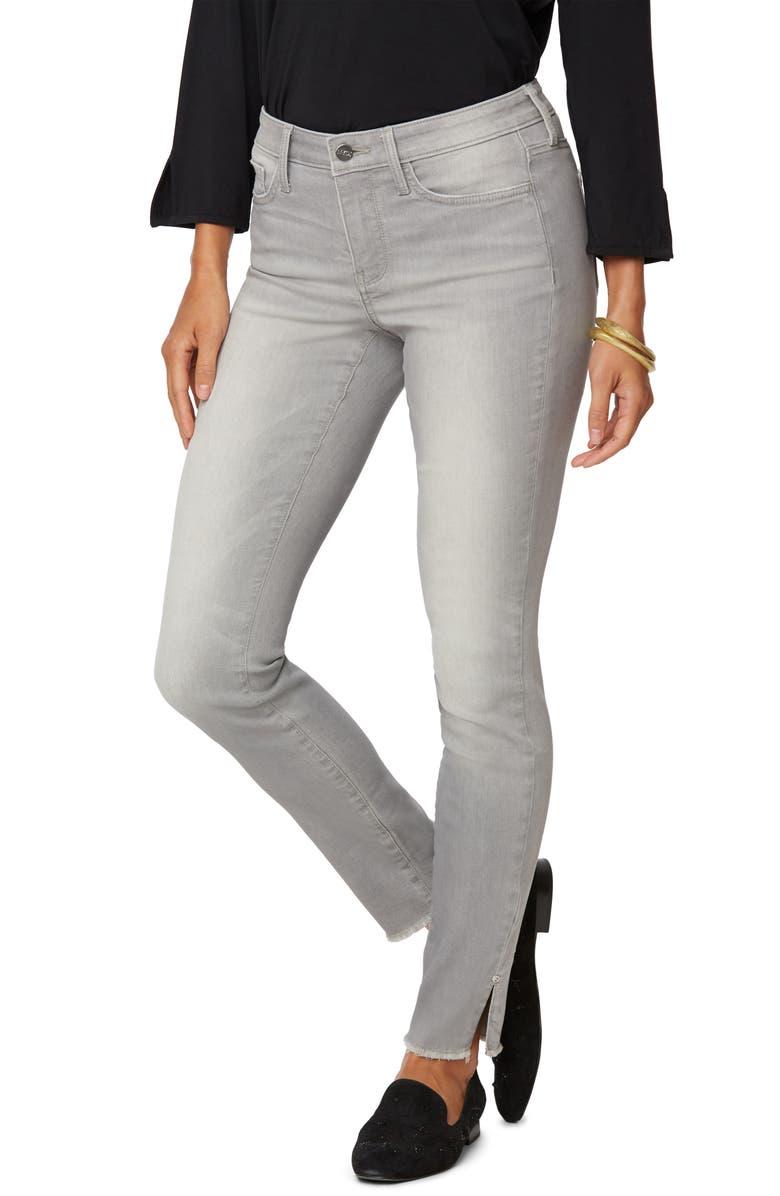 NYDJ Ami High Waist Rivet Side Slit Fray Hem Jeans, Main, color, GRACE
