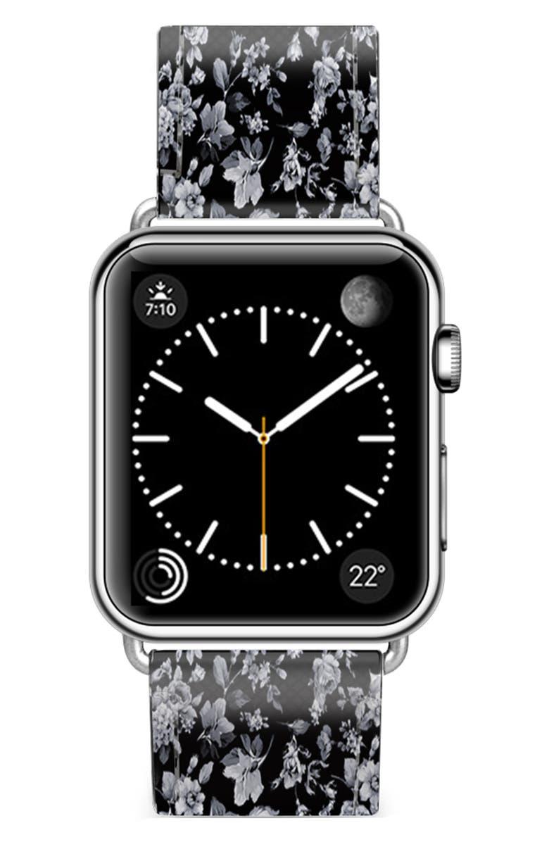CASETIFY Vintage Flowers Saffiano Faux Leather Apple Watch® Strap, Main, color, BLACK/ SILVER