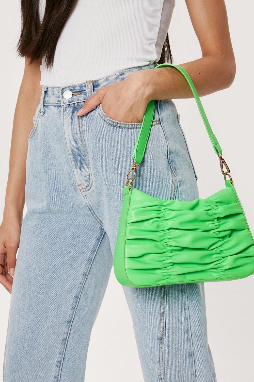 Faux Leather Ruched Zip Shoulder Bag