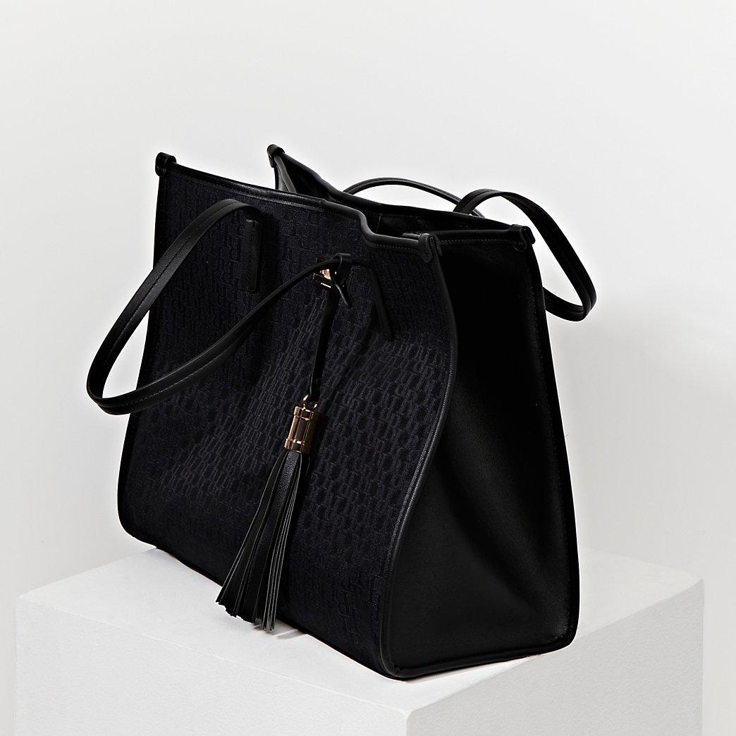 jacquard square shopper bag