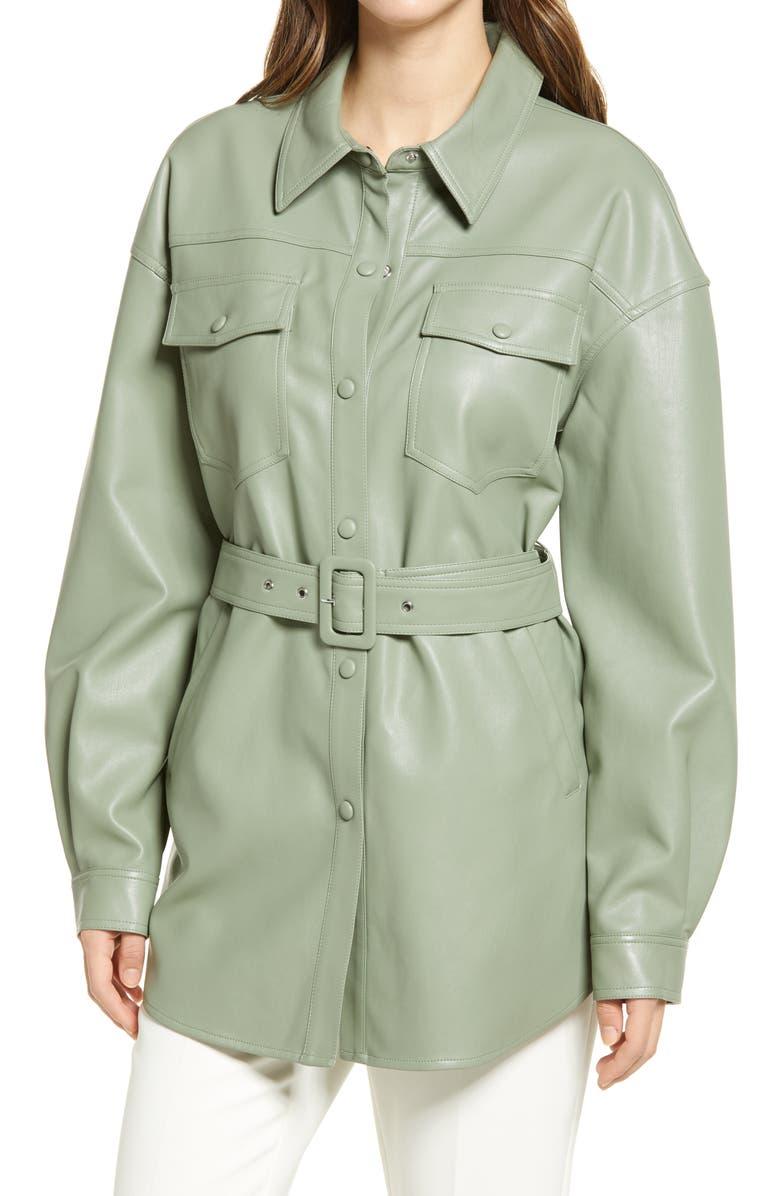 SANCTUARY Faux Leather Belted Shirt Jacket, Main, color, SAGE