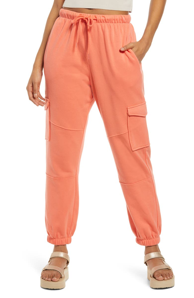 BP. Tie Waist Cargo Sweatpants, Main, color, CORAL CAMELIA