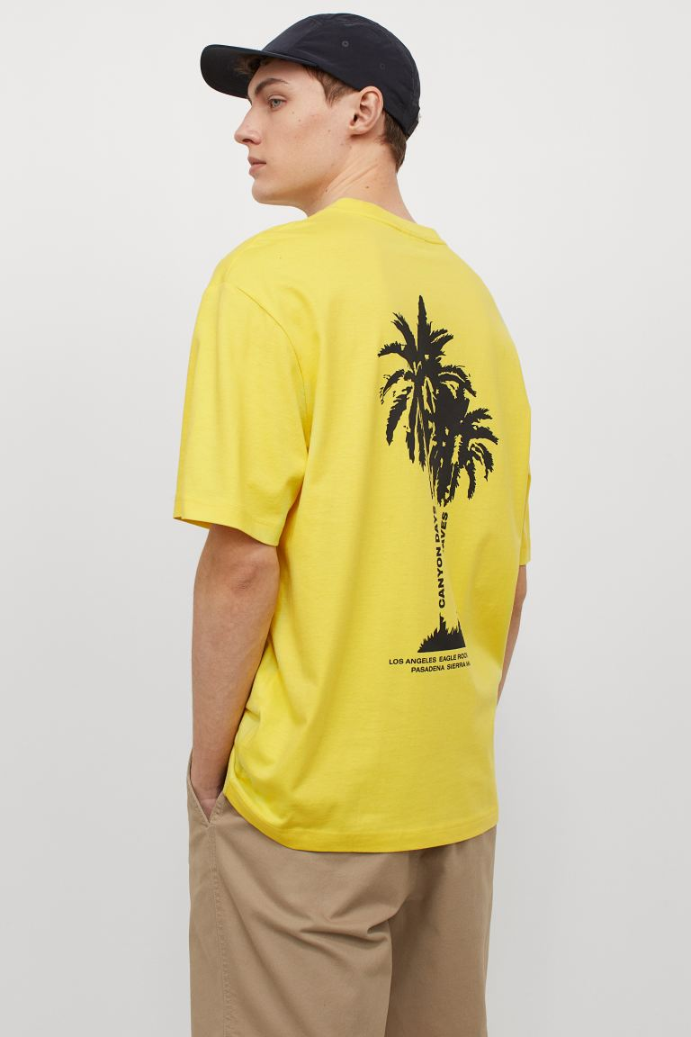 Relaxed Fit T-shirt - Yellow/palm trees - Men   H&M US