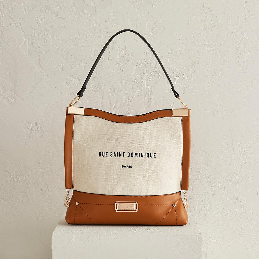 brown metal corner slouch bag