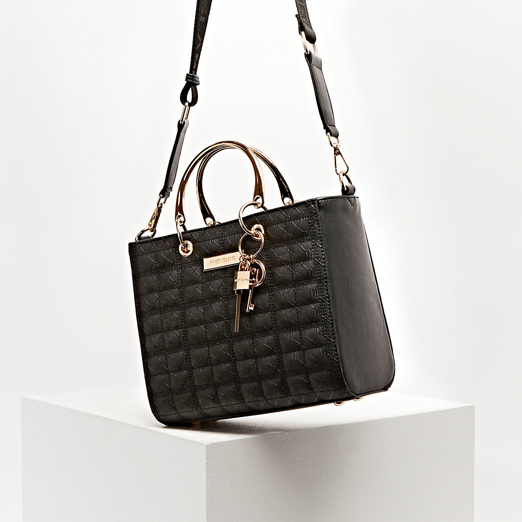 monogram boxy quilted tote bag