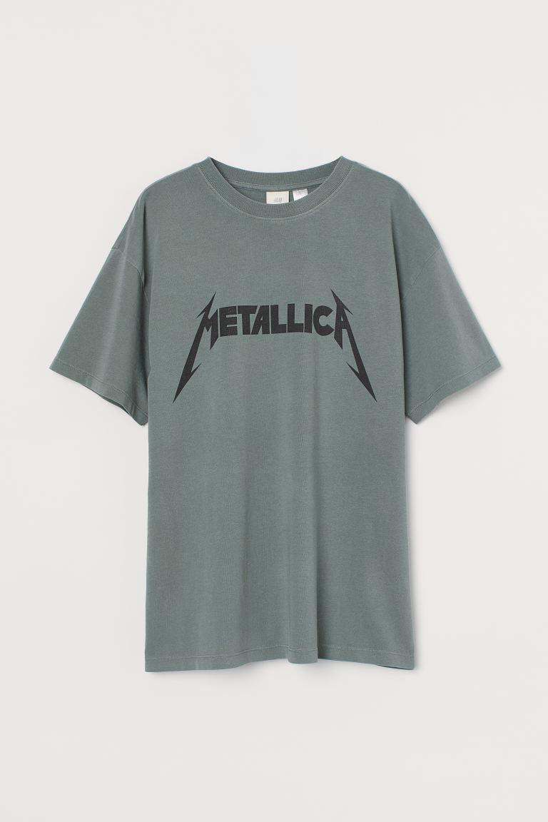 Oversized Printed T-shirt - Sage green/Metallica - Ladies   H&M US