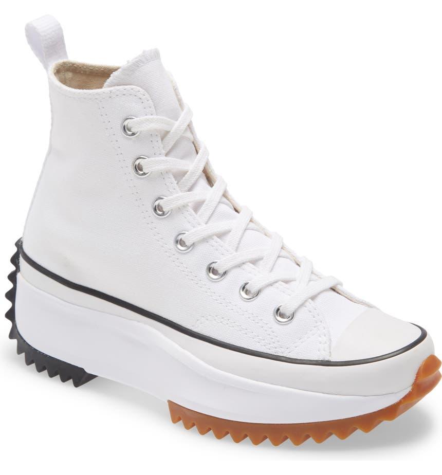 Chuck Taylor® All Star® Run Star Hike High Top Platform Sneaker, Main, color, WHITE/ BLACK/ GUM