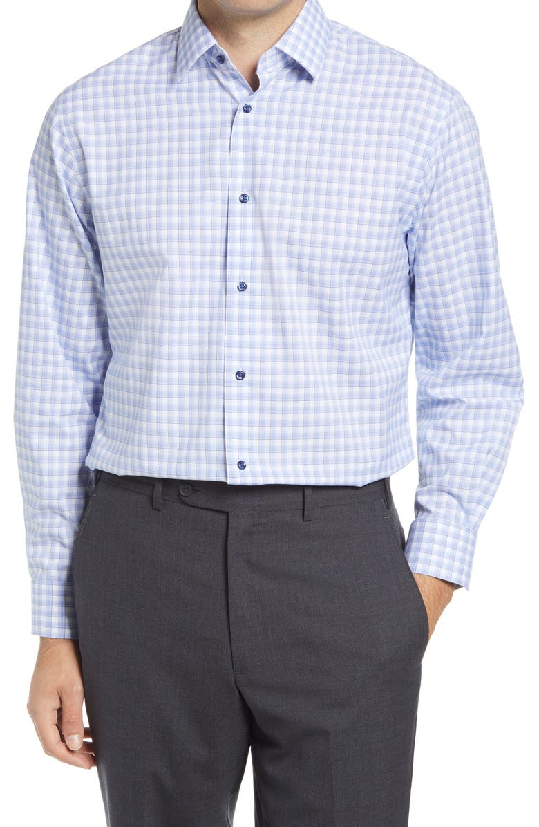 Traditional Fit Plaid Stretch Non-Iron Dress Shirt, Main, color, BLUE VICTORIA