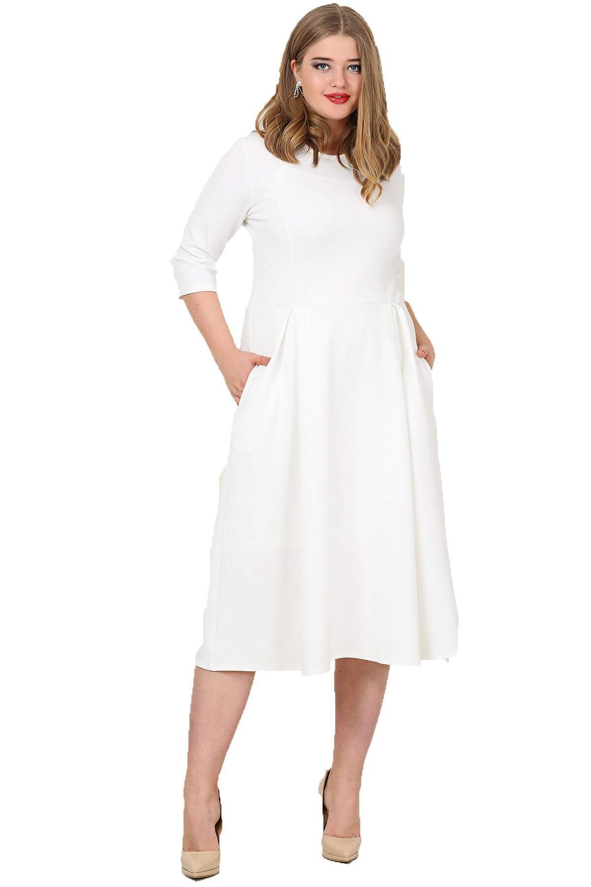 Women's Plus Size White Dress