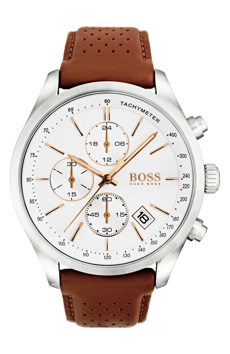 BOSS Grand Prix Chronograph Leather Strap Watch, 44mm, Main, color, BROWN/ WHITE/ SILVER