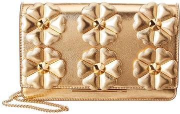 Metallic Gold Leather Floral Clutch