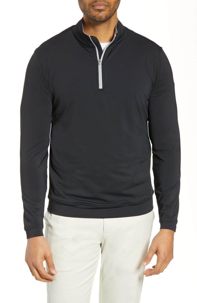 PETER MILLAR Perth Quarter Zip Performance Pullover, Main, color, BLACK